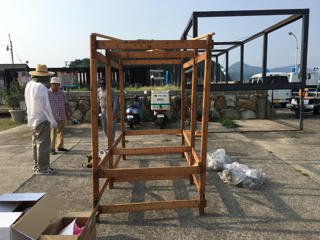 男木島の屋台の骨組み