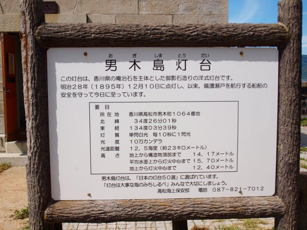 男木島灯台についての説明看板