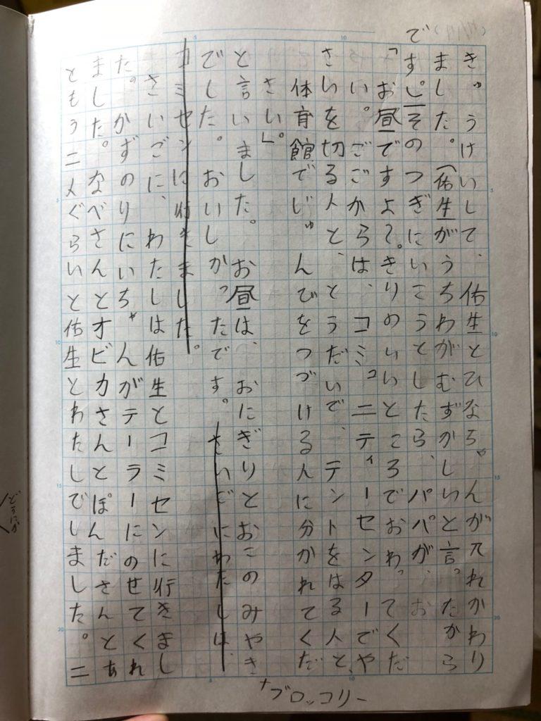 優花が書いた日記の2ページめ。